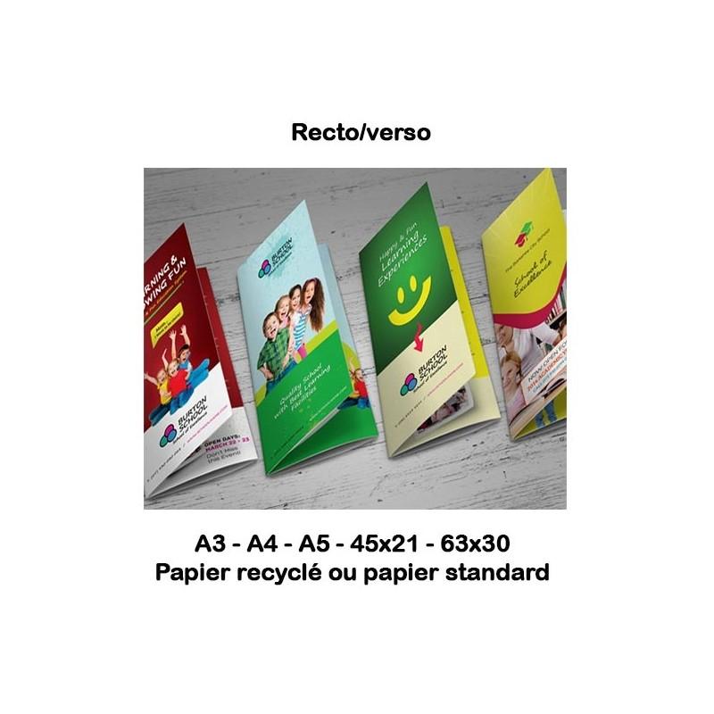 Dépliants (standard & recyclé) 90 à 350g selon format