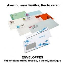 Enveloppes personnalisées sur papier standard, recyclé, bulles, plastique (recto ou Recto Verso)