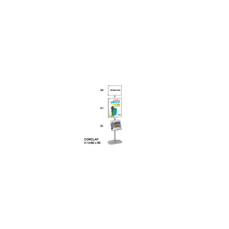 COMCLAP® D L.60 x H.1m80 - 2 cadres A1 et A4 & porte docs A5 - Changement de visuel sans outils